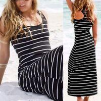 Women Round Neck Sleeveless Stripe Loose Long Maxi Dress Casual Tank Dress Plus