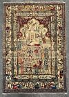 "Fine Antique Oriental Pictorial Rug Figures Signed 52"" X 72"""