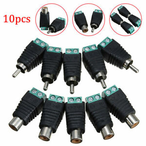 10Pcs Speaker Wire Cable to Male + Female RCA LED Connector Adapter Plug Jack