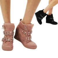New Women's Shoes Ladies Trainers Diamonds High Top Boots Ankle Mid Wedge Heel