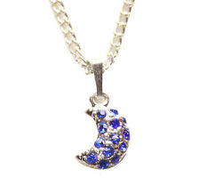 Azul eléctrico Diamanté Media Luna Colgante Collar Cadena de Metal Cromado/(Zx153)