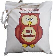 PERSONALISED - NO 1 TEACHER - OWL DESIGN - COTTON BAG gift
