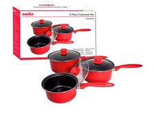 NEW ANIKA RANGE RED 3PC SAUCEPAN SET NON STICK WITH LIDS FOOD COOK KITCHEN POT
