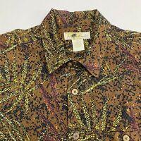 Blue Marlin Button Up Shirt Men's Size 2XL XXL Short Sleeve Brown Cotton Blend