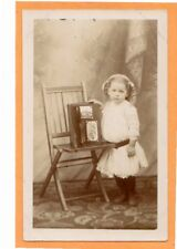 Studio Real Photo Postcard RPPC - Little Girl with Photo Album