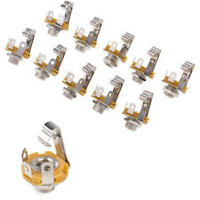"10Pcs 1/4"" 6.35mm Electric Guitar Bass Audio Part Silver Mono Input Jack Socket"