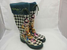 Ed Hardy Houndstooth and Skull Rain Boots Women's Size 6 Death or Glory