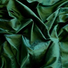 "Iridescent Forest Green Dupioni 100% Silk Fabric, 44"" Wide, By The Yard (S-193)"