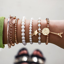 Boho Style Multilayer Crystal Bracelet Chain Coin Pearl Wrist Jewellery Set UK
