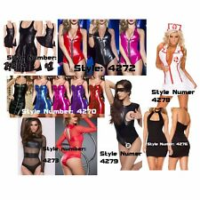 Sexy Lingerie Nurse Cosplay Playsuit Night Wear Gift Nightie Skirt Faux Leather