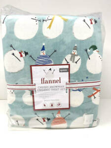 New~Pottery Barn Organic Flannel Cheery Snowman~Winter~Snow~Sheet Set~Queen