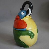 Antique Vtg Germany ELEPHANT Porcelain JAR Tobacco Box Powder HUMIDOR Mustard