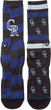 Stance MLB Pique Crew Socks Colorado Rockies Men's Large 9-12 NWT Blue Splatter