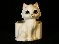 "Such Beautiful Soulful Eyes ""Lefton"" Ceramic Figurine Cat Planter 6 1/4"" Japan"