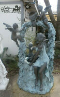 "Cast Bronze Lady at Well w 4 Cupids Self Contained  Water Fountain H 79"" x W40"""