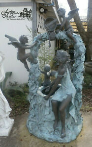 """Cast Bronze Lady at Well w 4 Cupids Self Contained  Water Fountain H 79"""" x W40"""""""