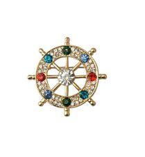 Unisex Brooch Pin Crystal Gift P29 Boat Wheel Captain Sailing Nautical Bronze