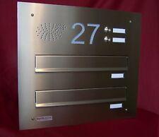 Mauerdurchwurf Briefkasten Anlage Edelstahl Fixtiefe 270 2 Klingeln Gravur MDH76