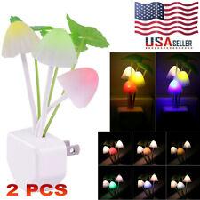 Romantic Colorful Mushroom LED Night Light Sensor Baby Bed Wall Lamp Home Decor