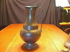 """14"""" Antique 18ThC Pewter Flagon in Baluster Form With Acorn Pulls and Touch Mark"""