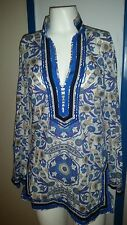 Tory Burch Tory Tunic  $275  Blue Multi colour Floral Sz  4 / S Classic  Cruise