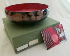 Lacquerware Wood Bowl - Red and Black - Floral Decoration - Japan - in Orig Box