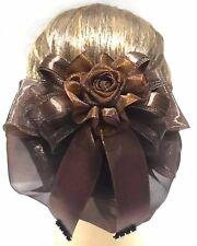 New Beautiful Brown Single Rose Ribbon Bow Snood Net Bun Cover Hair Clip Ballet