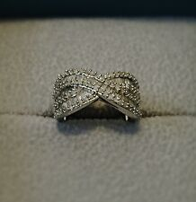 1.00 Carat Diamond Criss Cross Ring in Sterling Silver Size 6