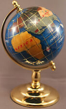 Multi-Gemstone 90mm Desktop Globe in Turquoise Pearl - Gold Tone Base Free S&H
