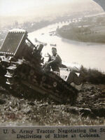 WW I US Army Tractor in Germany -  antique stereoview photo