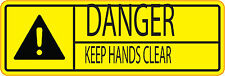 CAUTION  KEEP HANDS CLEAR  Machinery health and safety sticker  300x100mm