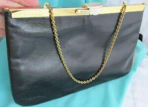 Vintage Black Patent Leather Clutch Purse Bag Handbag Gold Chain Hinged Clasp