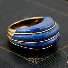 Antique Vintage Art Deco 14k Yellow Gold Carved Scalloped Lapis Lazuli Ring S 5