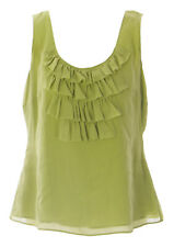 BODEN Women's Yellow-Green Ruffle Silk Tank Top WA306 US Sz 4 $59 NWOT