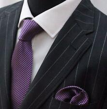 Tie Neck tie with Handkerchief Purple With Black Stripe