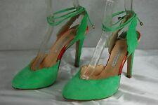 SUPPER BEAUTIFUL !!! BIONDA CASTANA  GREEN SUEDE  HI HEEL PUMPS EU 36 US 6