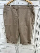 Plus Size EILEEN FISHER WOMAN Tan Cropped Cuffed Capris Chino Pants 1X 2X 40x20