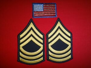 USA Flag Patch + Pair Of US Army MASTER SERGEANT Small Chevrons