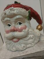 VINTAGE SANTA HEAD IN HAT WITH HOLLY AND BELL COOKIE JAR