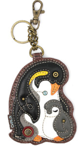 Chala Penguin and Baby Whimsical Key Chain Coin Purse Bag Fob Charm