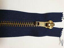 "Closed ENDED Antique Brass TEETH Dark Navy 7"" 18cm zip"