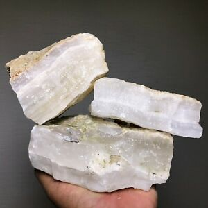 5 LB LOT OF NATURAL WHITE BANDED ONYX ROUGH FROM MEXICO - GOOD QUALITY