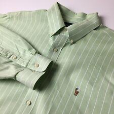 Ralph Lauren Mens 17 32/33 Green/White Striped Long Sleeve Button Front Shirt