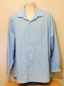 Van Heusen Dress Shirt 18.5 34/35 Blue White Check Long Sleeve Cotton Polyester