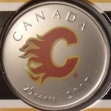 2007 Calgary Flames NHL Colored Quarter 25 Cent Canada Coin Royal Canadian Mint
