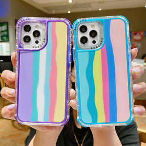 Cute Rainbow Hybrid Defender Hard Case For iPhone 13 12 Pro Max 11 XS XR 876Plus