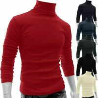 Herren Thermo Slim Fit Rollkragen Langarm Pullover Stretch T-Shirts Jumper Tops