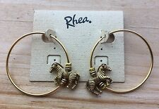 Rhea Zebra Hoop Loop Earrings Goldtone