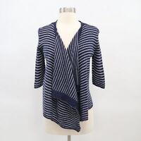 Calypso St. Barth Womens Cardigan XS 100% Cashmere Open Front Draped Stripe Blue
