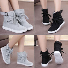 Women Casual Canvas Buckle Strap Hiking Flats Lace Up High Top Sneakers Shoes